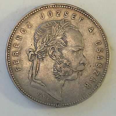 """""""1869 Hungary 1 Forint"""" Silver (.900) Coin Xf Condition Not Prof. Graded"""