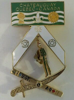 """Vintage (Quebec) """"chateauguay Quebec-Canada District A-8 Lions"""" Club Pin/pendant"""