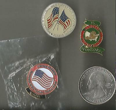 National Wild Turkey Federation Pin Back Button Lot Of 3 Veteran Sponsor 25 Nwta