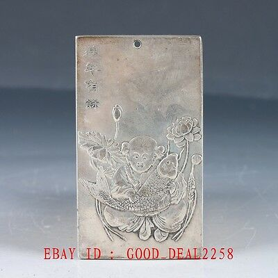 Chinese Collection Tibet Silver Hand Carved Child & Fish & Lotus Pendant YP01