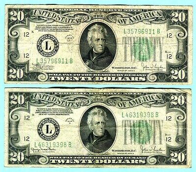 A Pair of $20 FRN from San Francisco FRB Series 1934C  & 1934D