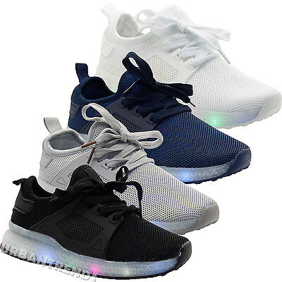 Kids LED Flash Light Up Mesh Breathable Trainers Boys and Girls Sneakers Shoes