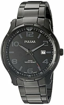 Pulsar Men's Black Dial Stainless Steel Watch PS9335