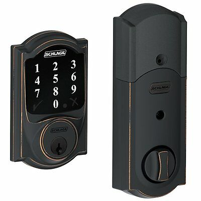 Schlage Lock Company Connect Camelot Touchscreen Deadbolt, Aged Bronze