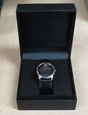 Men's Movado 07.1.14.1142 Black Dial/Leather Band Stainless Steel Museum Watch