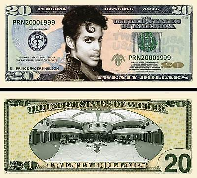 Prince $20 Dollar Bill Collectible Fake Play Funny Money Novelty Note