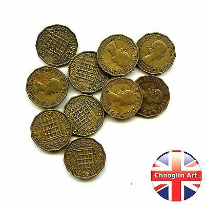 Collection of x10 1956 British Nickel Brass ELIZABETH II THREEPENCE Coins
