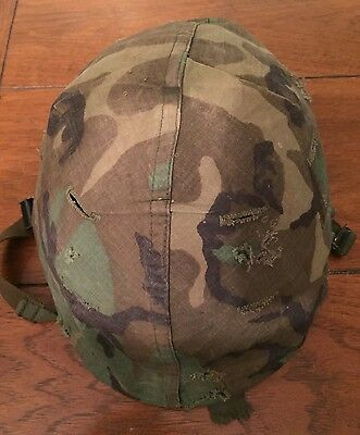 Vintage Vietnam Era U.S. Army M1 Steel Helmet with Liner And Camo Cover