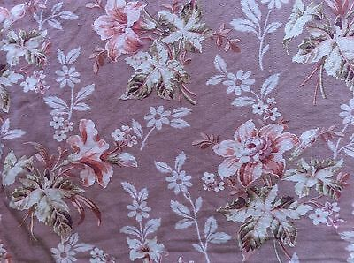Antique French Late 1800s - Early1900s Art Nouveau Pink Floral Textile