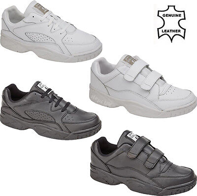 Mens Genuine Leather Walking Running Gym Sports Trainers Casual Driving Shoes Sz