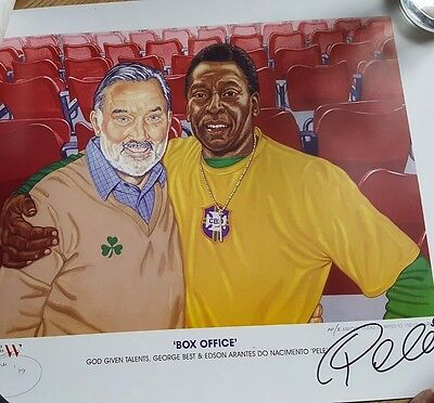 'Box Office' Art print, George Best and Pele, Signed by Pele