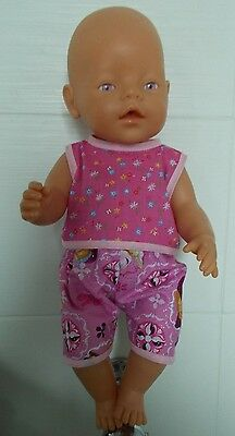Doll Clothes Baby Born Dolls Sparkly Frozen Fabric Summer Shorts & Top Outfit