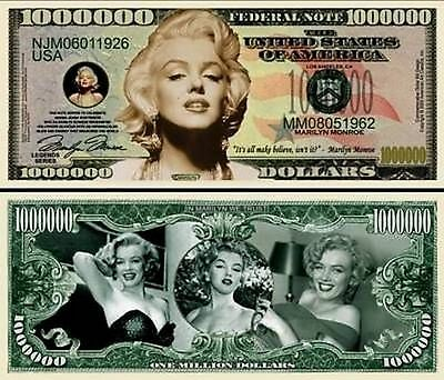 new Marilyn Monroe Million Dollar Bill Fake Funny Money Novelty Note FREE SLEEVE