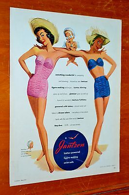 Sharp 1950 Teen Bathing Swim Suits Vintage With Beautiful Girls Ad - Classic 50S