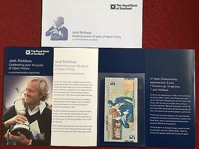 Jack Nicklaus £5 note, Uncirculated  with Commemorative Folder & Envelope