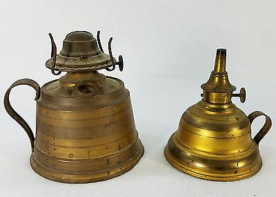 2 Antique Brass Hand Held Oil Lamps P&a Company - Free Shipping!