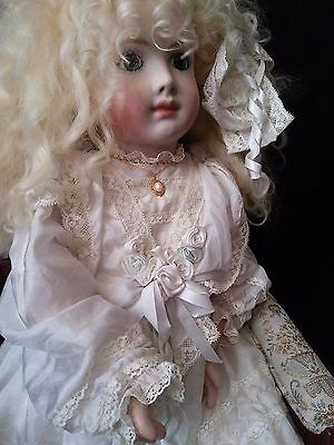 """24""""  A 14 T Vernon Seeley Mohair wig White gown  Repro A.T. Merilie French doll"""