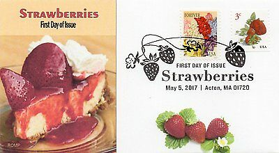 Strawberries, 2017 stamp,Strawberry Cheesecake,Food by ROMP cachets