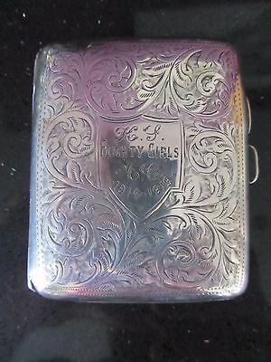 Solid Silver cigarette case World War One interest Blighty Girls 1914 - 1919