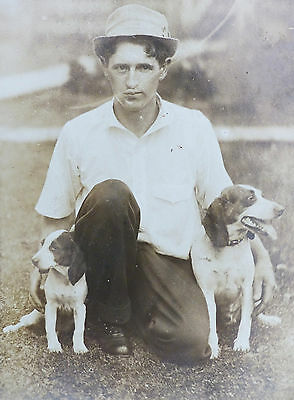 ANTIQUE Vintage RPPC Photo DOG BEAGLE Sporting DOG with Best Friend TRAINER