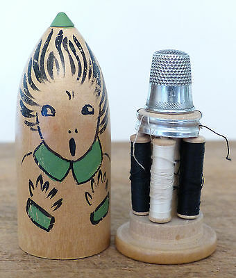 CUTE  Antique VINTAGE Sewing KIT CASE Etui Wooden Bullet Shape GIRL 1920-30s IOB