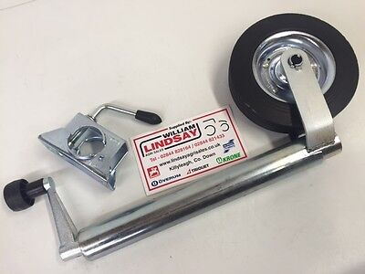Trailer Caravan Jockey Wheel c/w Clamp Kit 48mm Plain Tube Jockey Wheel
