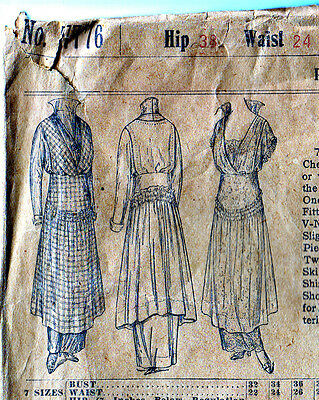 1889 Unusual Misses' Dress Standup Collar Double Skirt Pattern Vintage