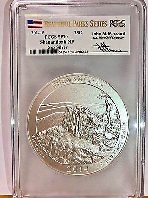 2014-P Shenandoah NP 5 oz Silver ATB PCGS SP70 Beautiful Parks Proof (Mercanti)