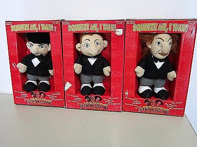 The Three Stooges TALKING KNUCKLEHEADS Complete Plush Set of 3 in Boxes