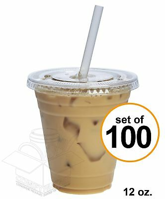 COMFY PACKAGE 100 Sets 12 oz. Plastic CRYSTAL CLEAR Cups with Flat Lids for C...
