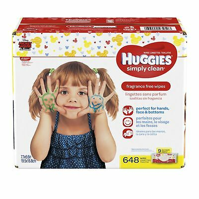 HUGGIES Simply Clean Baby Wipes Unscented Soft Pack  72 Count Pack of 9 (648 ...