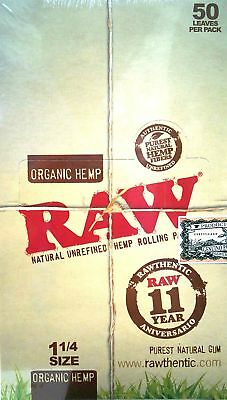 Raw Unrefined Organic 1.25 1 1/4 Size Cigarette Rolling Papers Full Box Of 24...