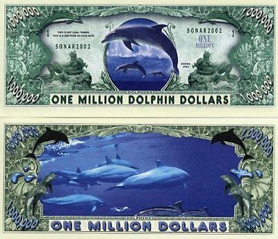 Dolphin Million Dolphins Dollar Bill Collectible Fake Funny Money Novelty Note