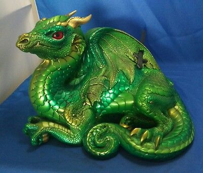 Windstone Editions Old Warrior Laying Dragon Emerald Green RETIRED HTF
