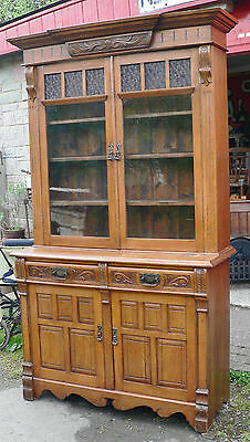 Antique Bookcase. Oak. Edwardian