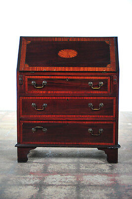 "19th c.antique English 36"" inlaid Mahogany drop front Secretary Desk w/3 drawers"