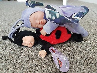 Anna Geddes Sleeping Butterfly and Ladybird Baby Dolls
