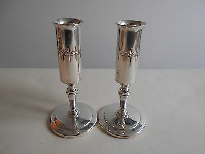 Unusual Silver Plated Candlesticks By James, Long Holder