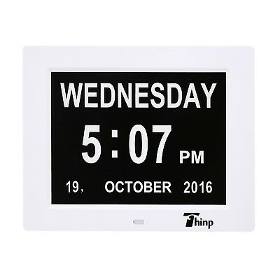 Thinp Digital Calendar Day Clock with 8 inches Extra Large- Memory Loss Day &...