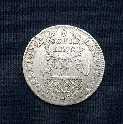 German States Lubeck 8 Schilling Silver Coin 1729