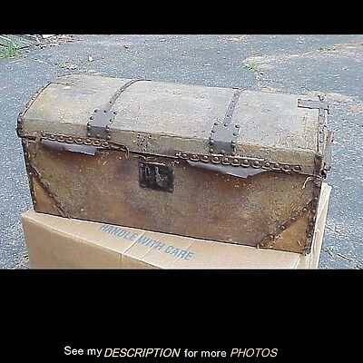 Antique 19C Primitive Dome Top Hide Covered Travel Document Trunk Chest