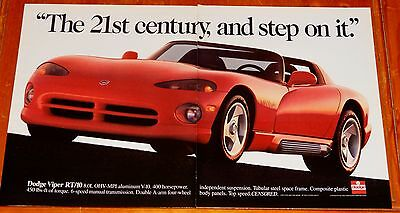 Awesome 1993 Dodge Viper Rt Large Retro Ad - Exotic American Sports Car