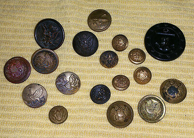 Original U.S. MILITARY Lot of 18 Uniform Buttons; WW2, Civil & Indian Wars