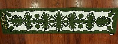 "Hawaiian quilt  100% hand quilted appliqued table runner wall hanging 13""x60"""