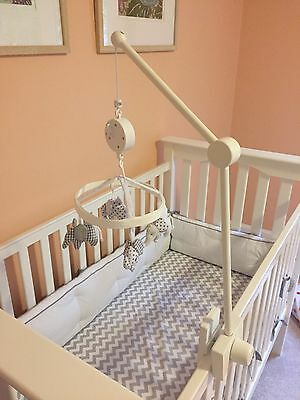 Pottery Barn Kids Flying Elephant Crib Mobile- Gray with White Wooden Arm