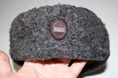 Soviet Russian Army Fur Winter Hat Grey Size 58