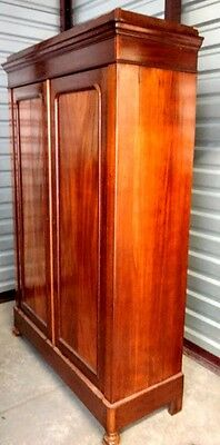 Flamed Solid Mahogany Old Victorian Era Ar-moire 4 Shelf-Open Design Real Wood!