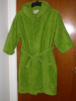 Kids bath robe, 100% cotton, green, hooded, unisex, boys/girls. Size Large