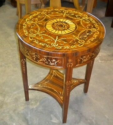 Magnificent round 37 inches marquetry side center table