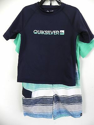 New Nwt Boys 6 Quiksilver 3 Piece Swim Set Boardshorts Shirt Rash Guard Upf 50+